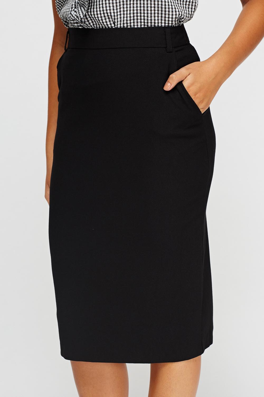 Black Midi Pencil Skirt Just 163 5
