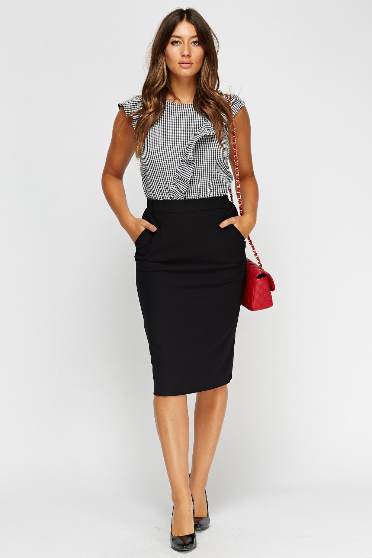 Black Midi Pencil Skirt | Fashion Skirts