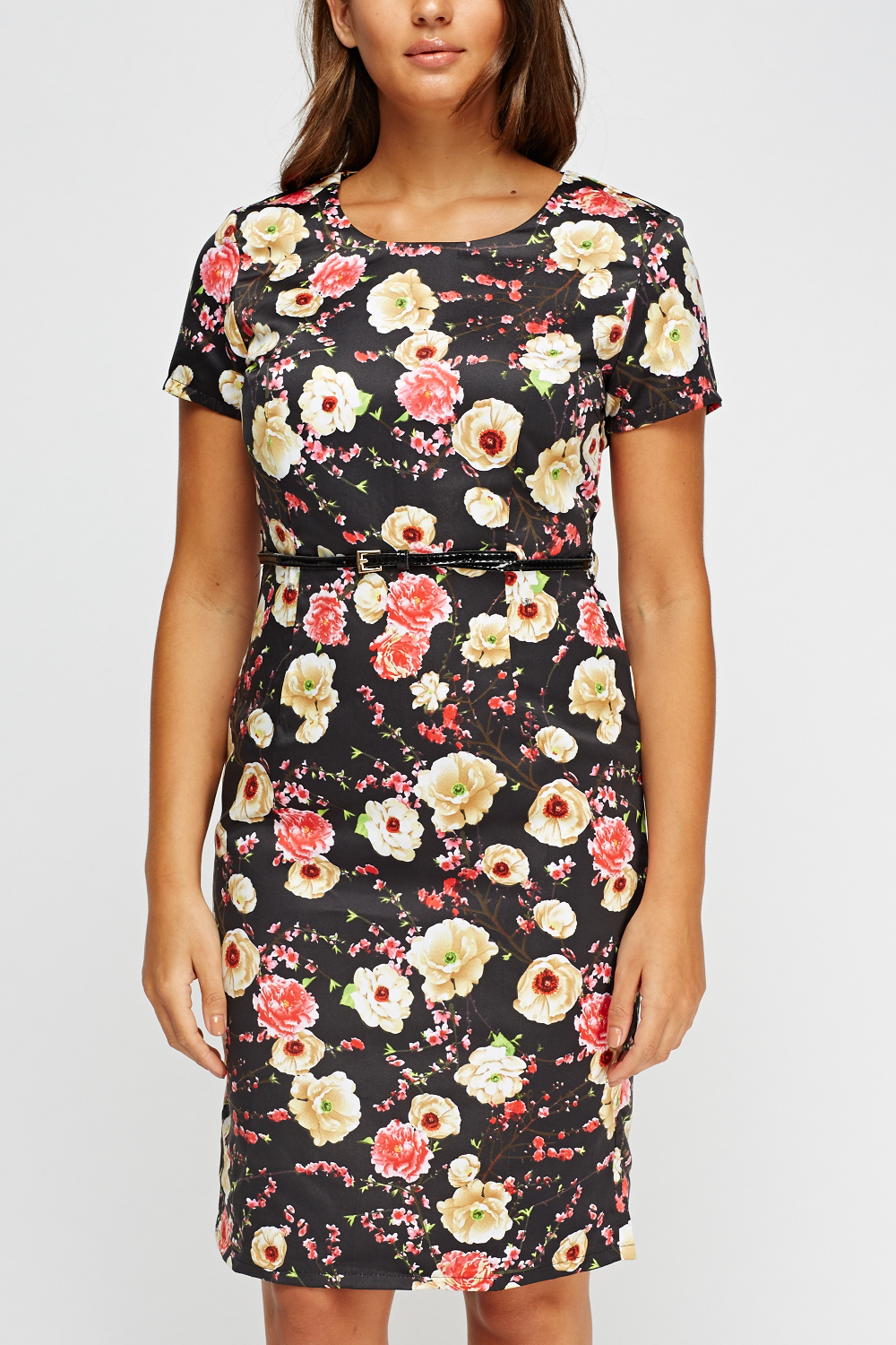 floral sateen belted dress just 163 5
