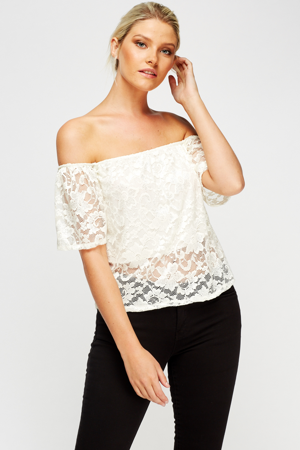 ef5b5ad82a1d9 Off Shoulder Lace Overlay Top - Just £5