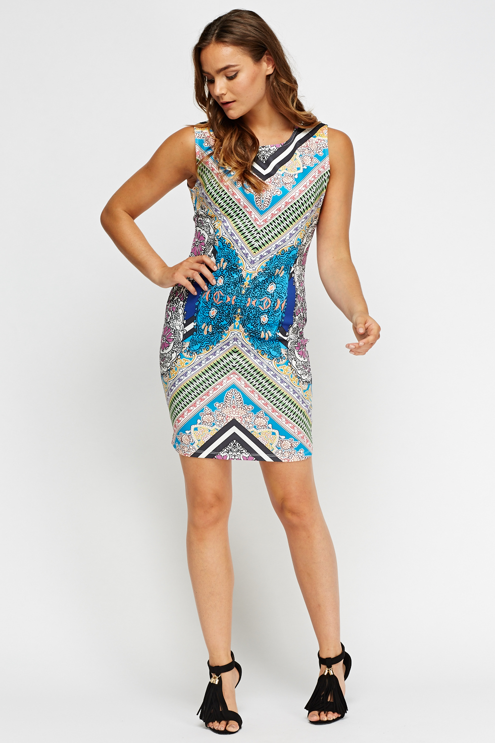 3458ea93894879 Mix Print Sleeveless Bodycon Dress - Just £2