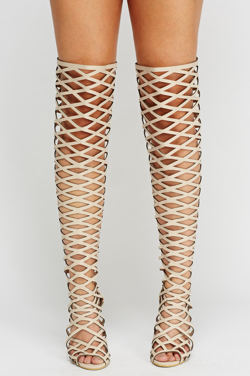 ac1e14b5809 Laser Cut Over The Knee Peep Toe Boots - Just £5