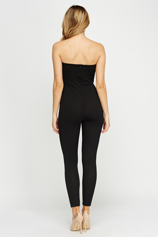 Bandeau Fitted Black Jumpsuit Just 163 5