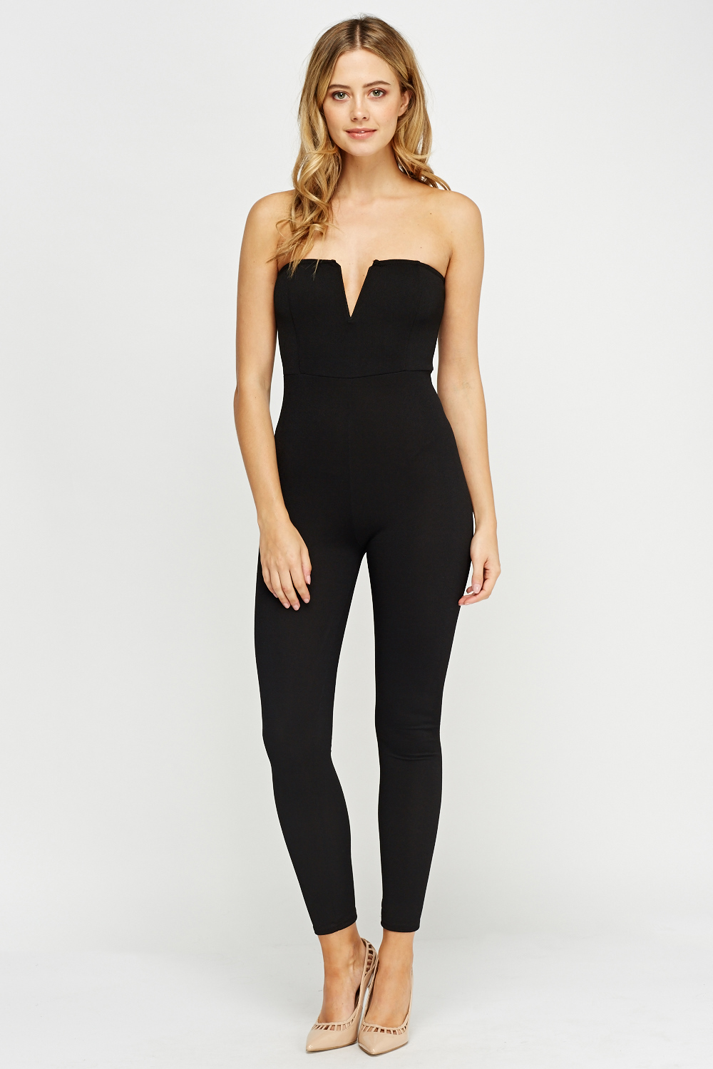 Bandeau Fitted Black Jumpsuit Just 163 5