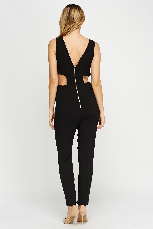 Cut Out Side Black Jumpsuit Just 163 5