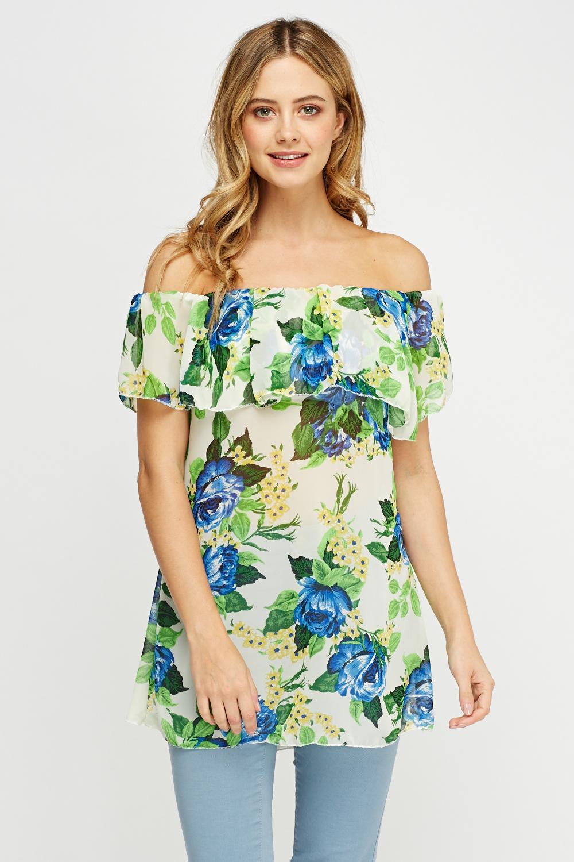 9d0e2e87cab55 Off Shoulder Sheer Floral Top - Just £5