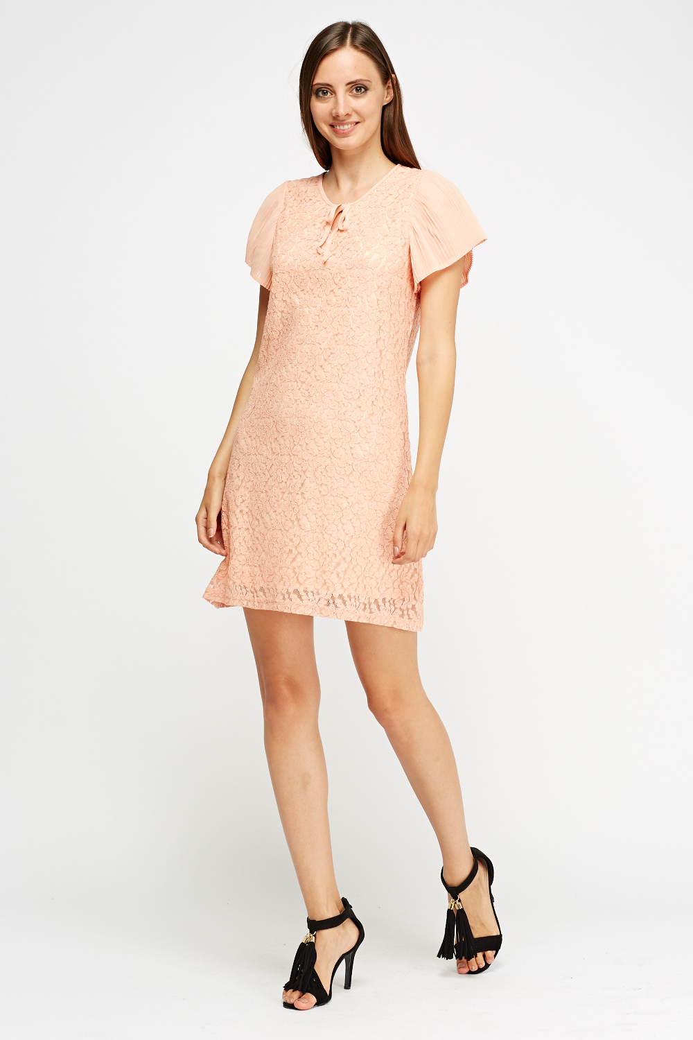 Mesh Overlay Pleated Sleeve Dress - Just £5 d62dbf222