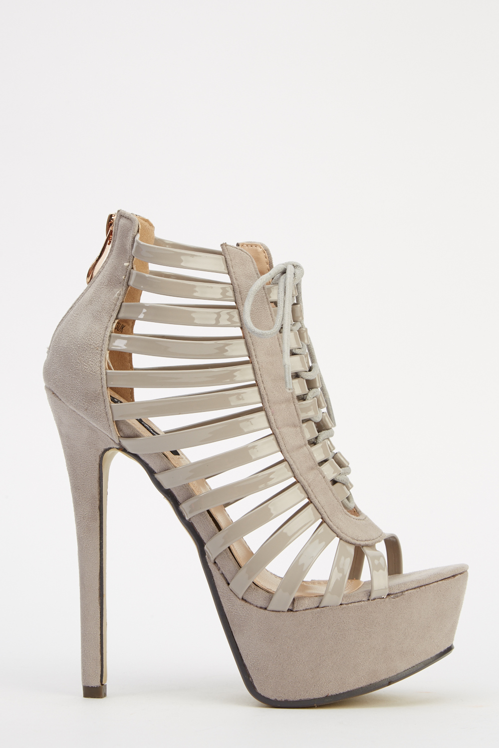 5909712ae22 Contrast Grey Strappy Platform Heels - Just £5