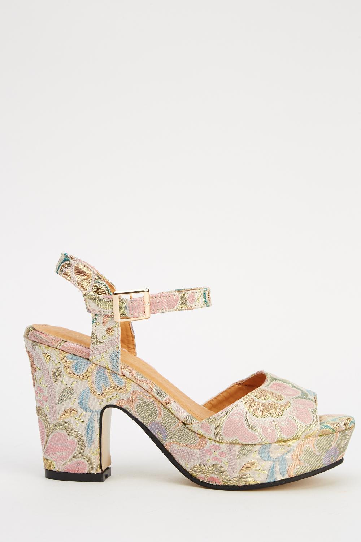 Floral Block Heel Shoes