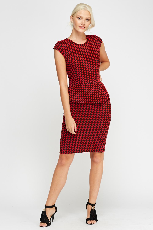 Houndstooth Peplum Midi Dress - Red/Black - Just £5
