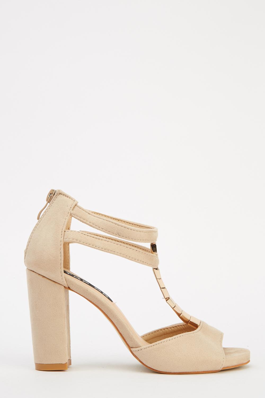 Embellished T-Bar Block Heel Sandals - Just £5