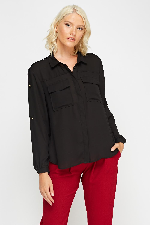 67dfb822 Black Sheer Blouse - Just £5