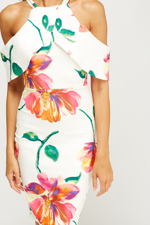 Cold shoulder flower print bodycon dress just 5 1 izmirmasajfo