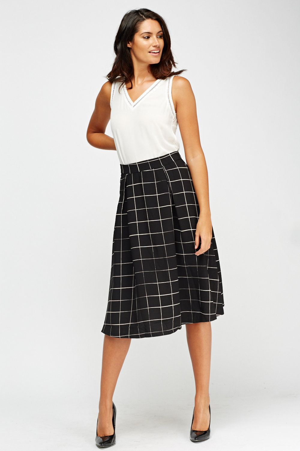 Pendleton Tartan Plaid Skirt Petite 14 Red Pleated Midi A Line Pure Wool USA See more like this Marks & Spencer Green Stripes/Plaid Trumpet Midi Skirt Steampunk UK 16 US 12/14 Pre-Owned.