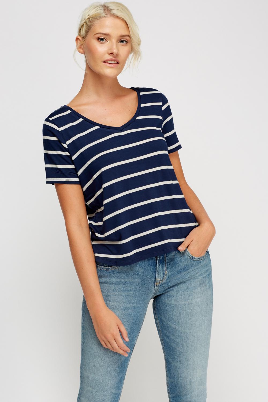 Striped Basic T Shirt Navy White Just 163 5