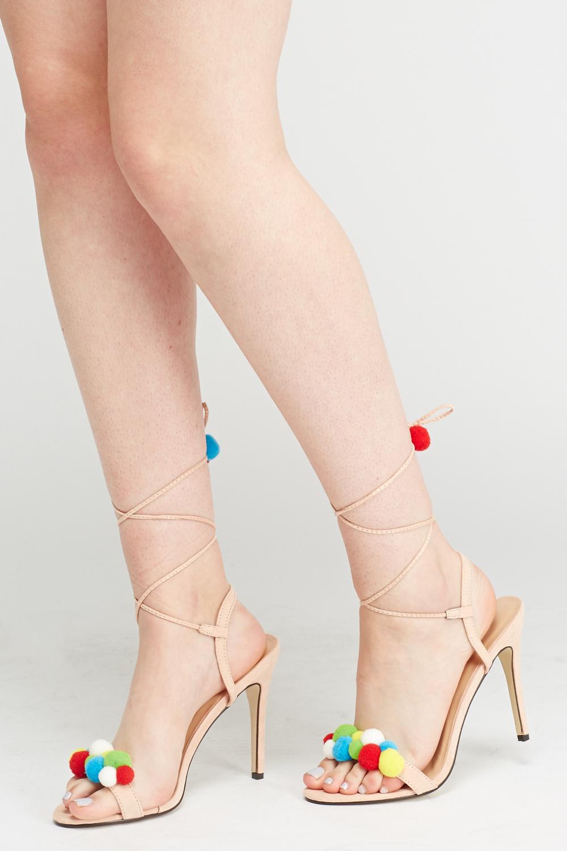 Tie Up Pom Pom Heeled Sandals - Beige - Just £5 4b4635c93566