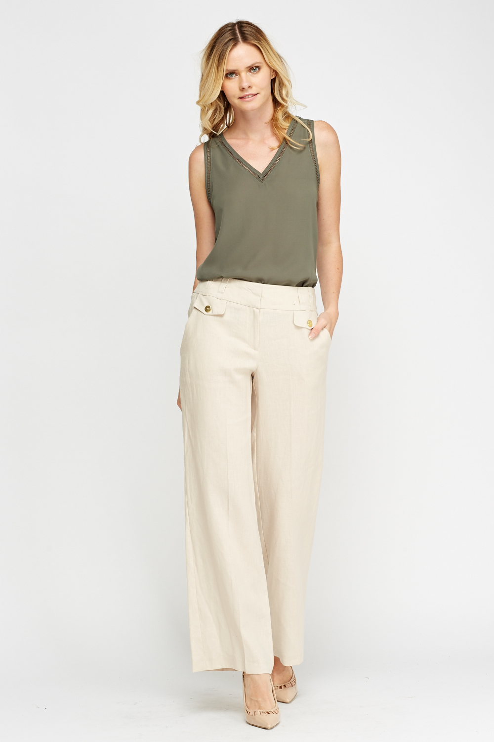 High-rise wide-leg stretch-cotton twill trousers Palmer//Harding's beige trousers are cool and chic in equal measure. This stretch-cotton twill pair sits comfortably high on the waist, and falls in contemporary wide legs to the floor.
