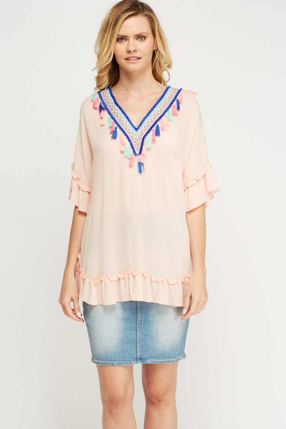 074934ef1420e Embroidered Tassel Cover Up Top - Just £2