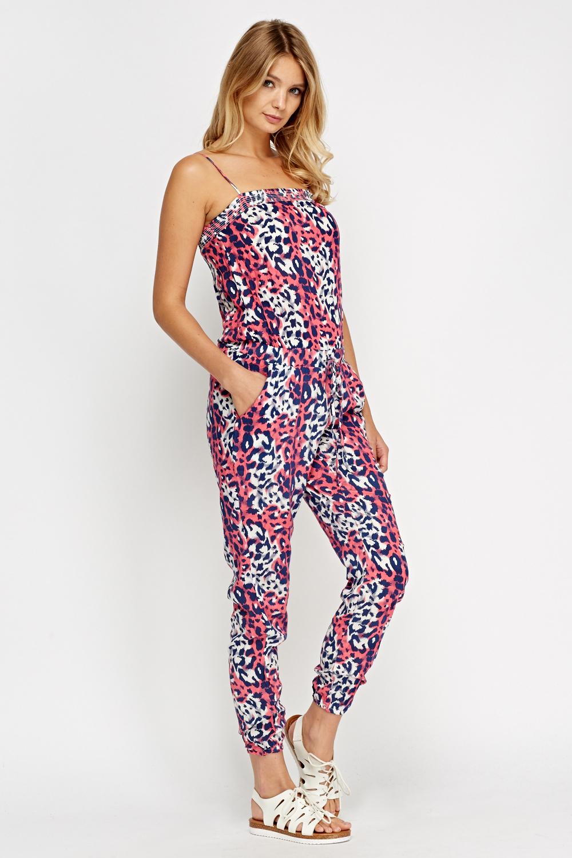 Animal Print Pink Jumpsuit Just 163 5