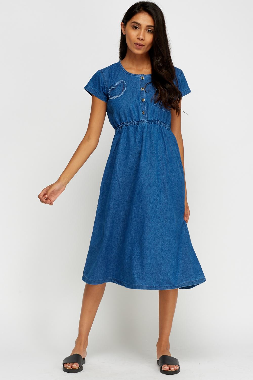 Denim Button Up Midi Dress Light Denim Blue Or Denim