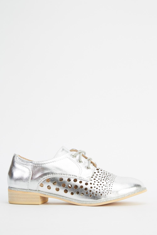 Metallic Laser Cut Lace Up Shoes - Just $6