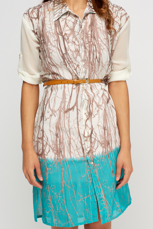 Printed tie dye shirt dress just 5 for Tie dye printed shirts