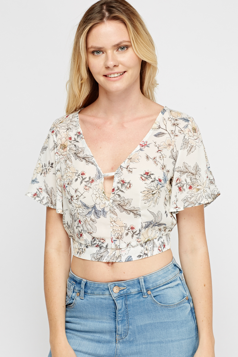 e7c86e453abe9 Sheer Printed Flare Sleeve Crop Top - 3 Colours - Just £5