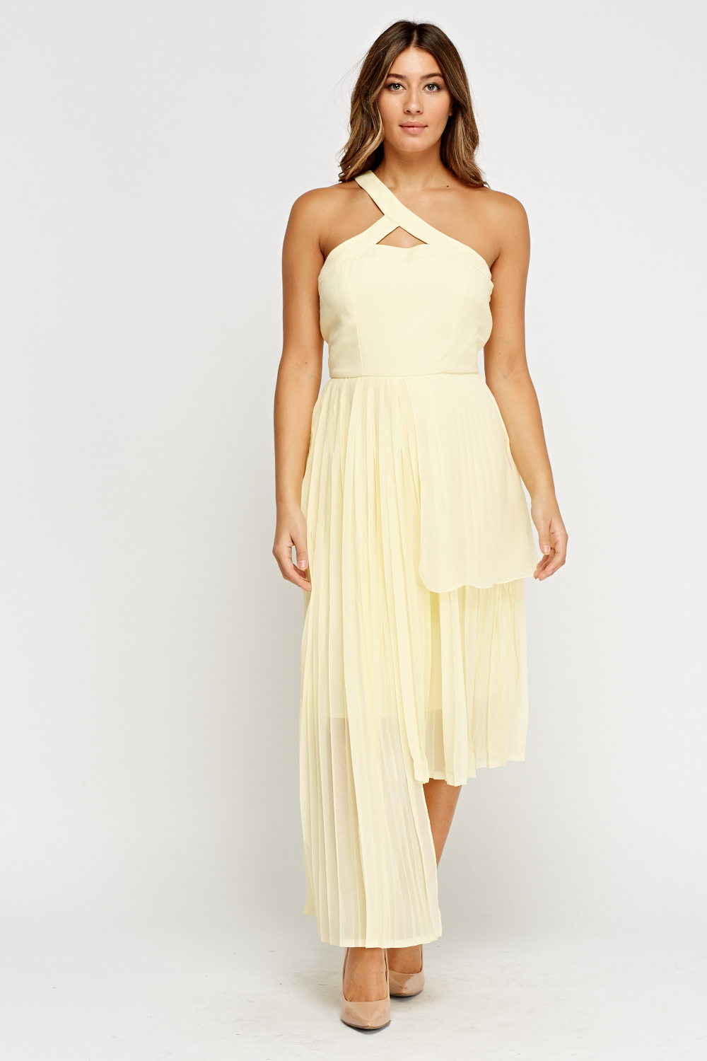 Asymmetric Pleated Light Yellow Dress - Just £5