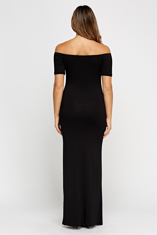 Off Shoulder Black Maxi Dress Just 163 5