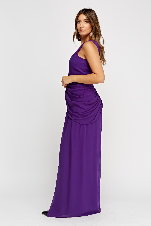 11f0d92d012 Ruched Purple Maxi Dress - Just £5