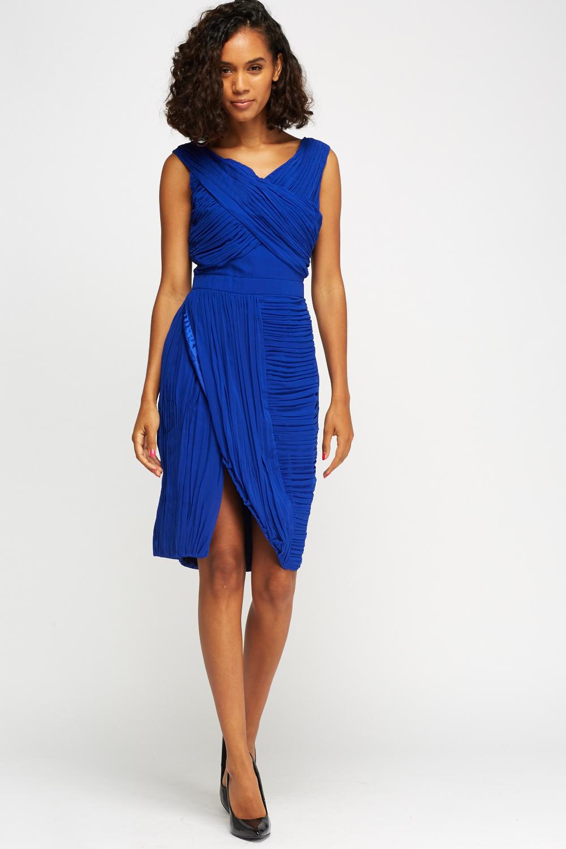 Royal Blue Ruched Wrap Dress - Just £5 8c965d482