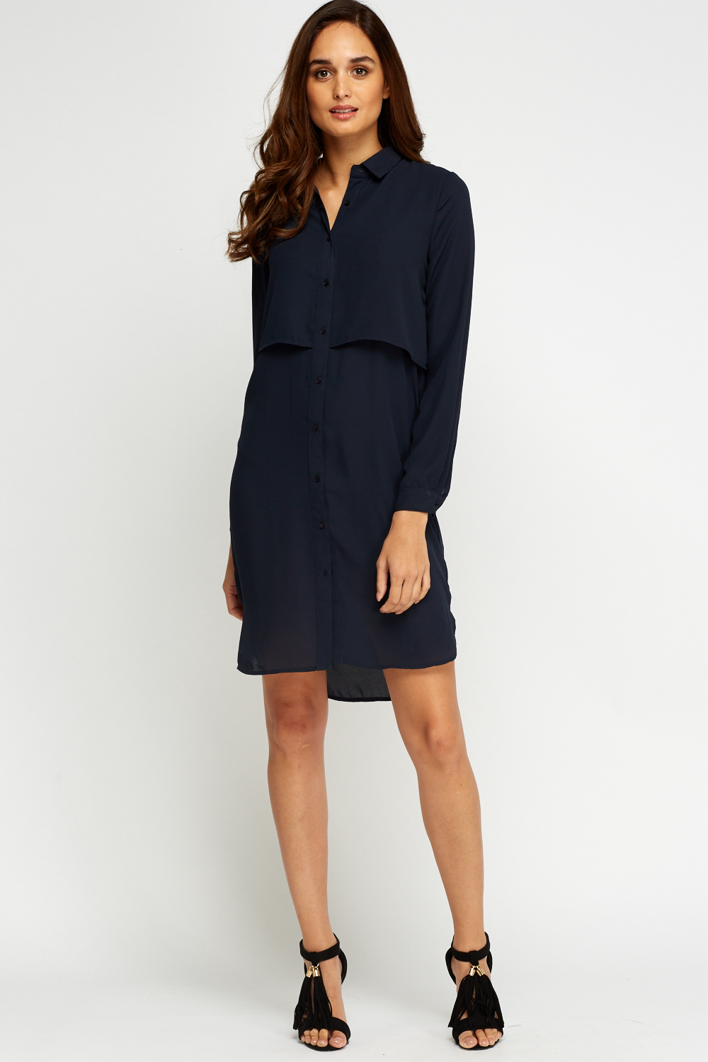 Dip Hem Casual Shirt Dress Navy Just 163 5