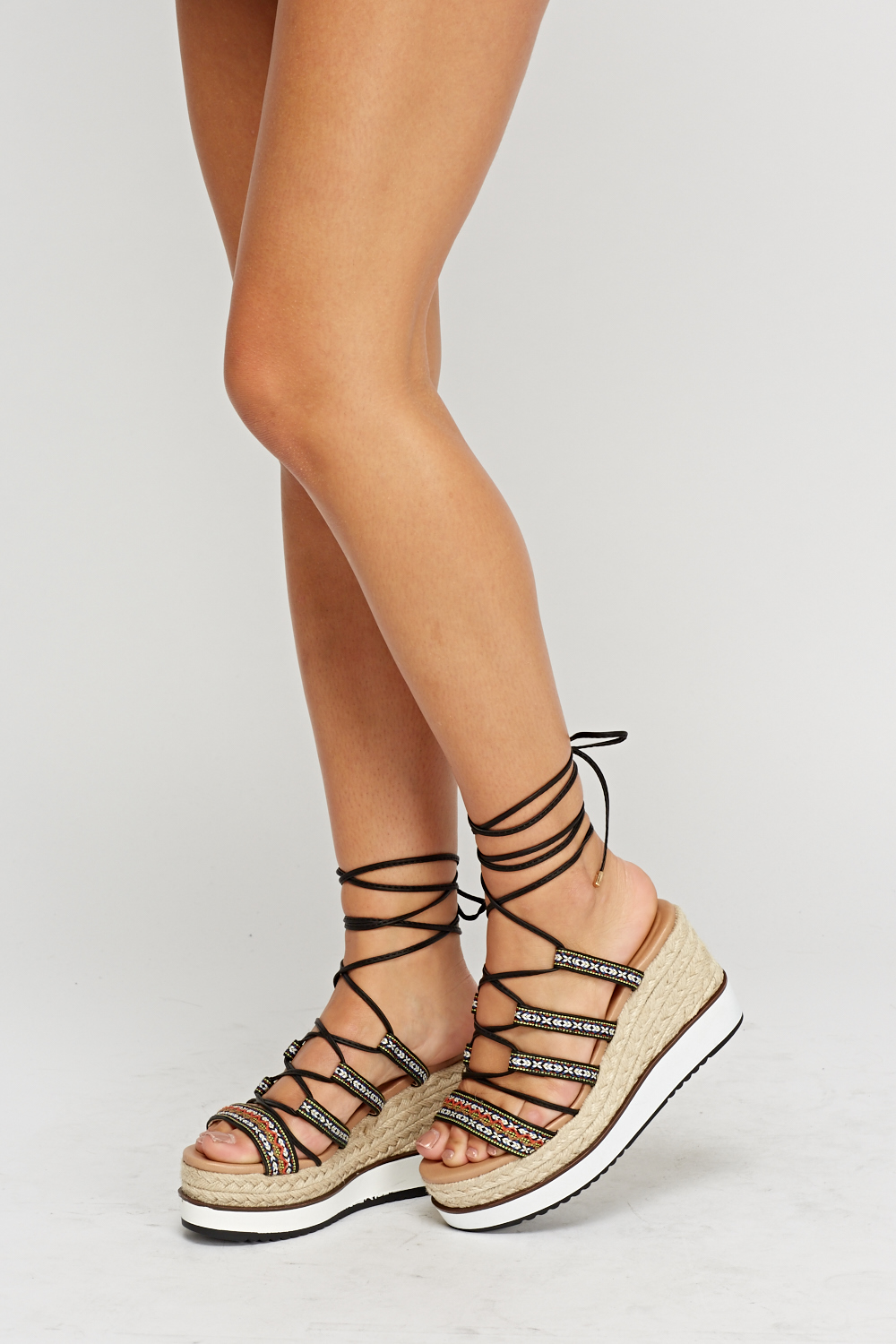 1ddc515f6f0ac Tie Up Wedge Espadrille Sandals. Click on the image to zoom