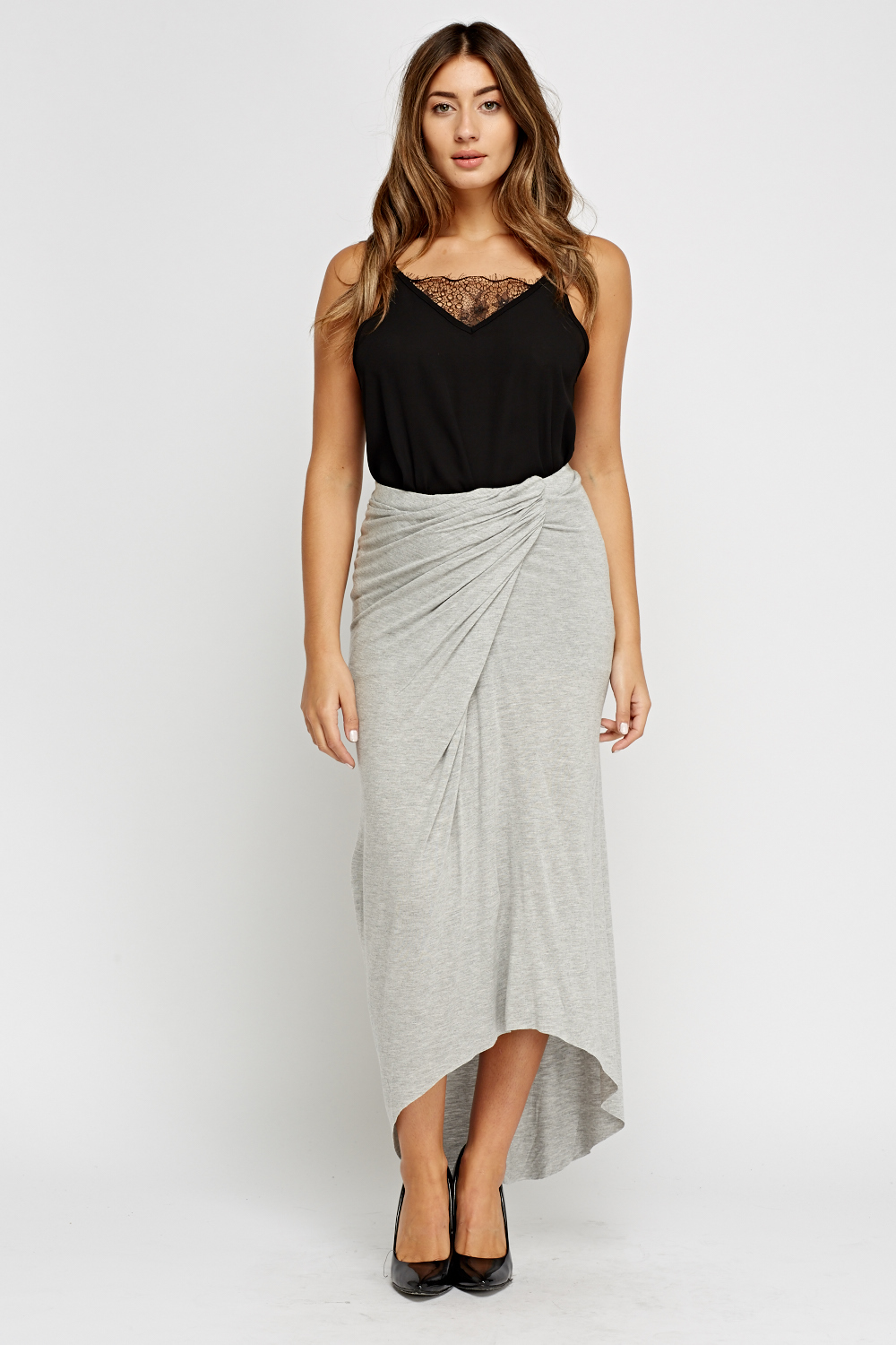 Ruched Grey Bodycon Maxi Skirt Just 163 5