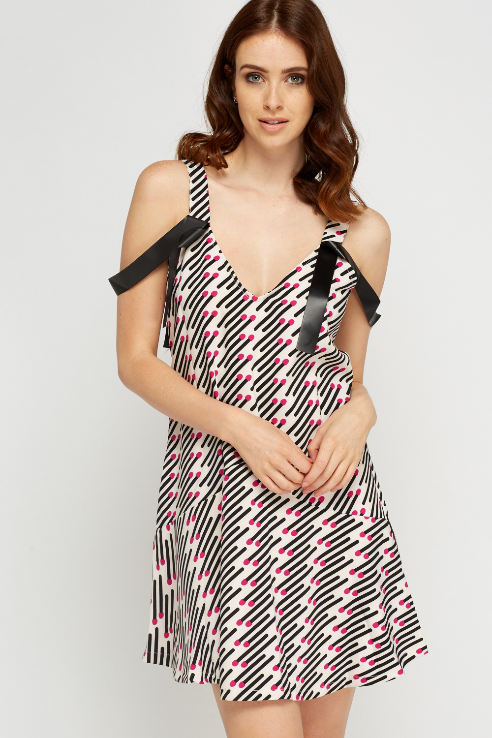ca441ee2ebf Ribbon Shoulder Detail Printed Dress - Black Multi or Off White Multi -  Just £5