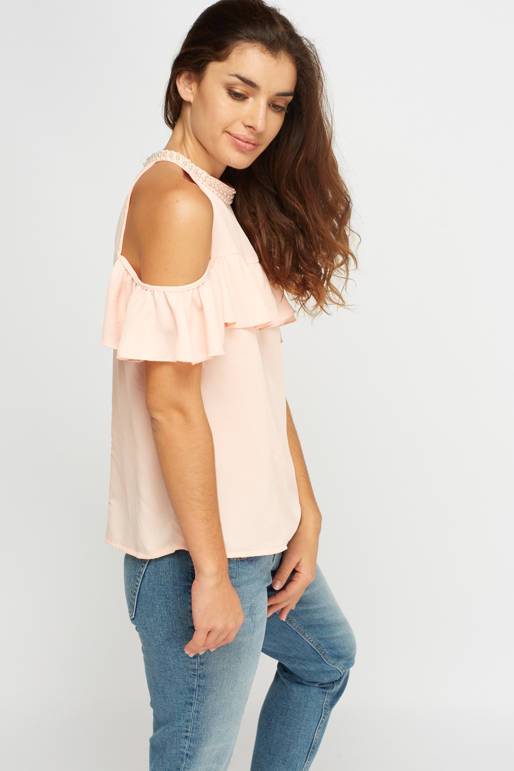 62a8f92d8777be Pearl Embellished Cold Shoulder Top - Just £5
