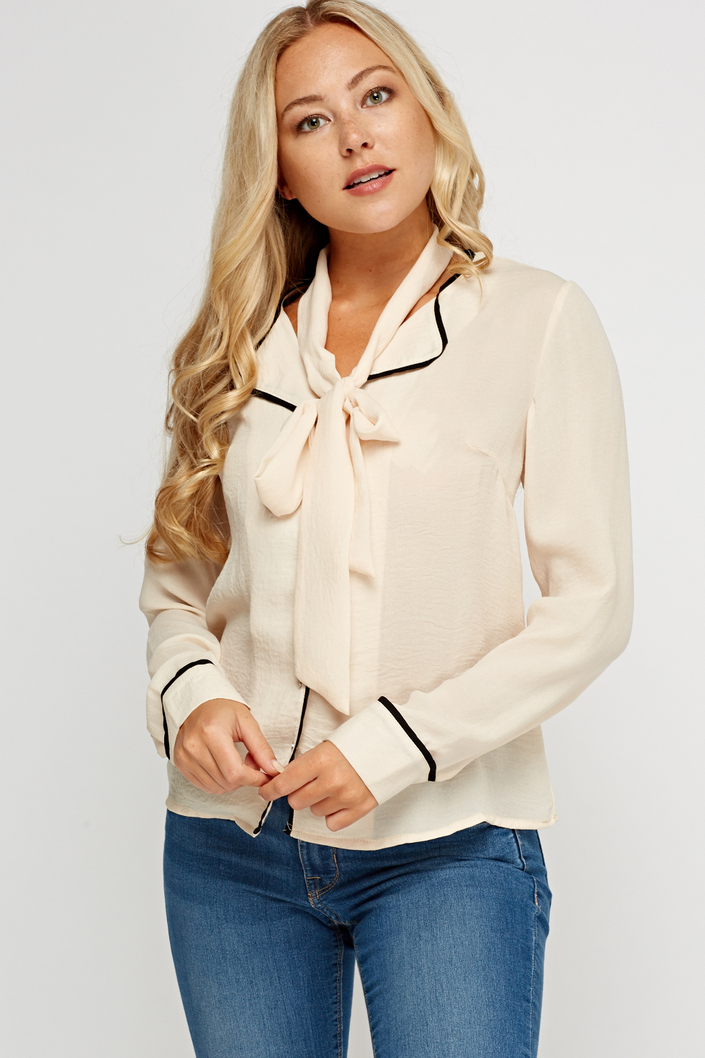 7fe3418db0 Contrast Trim Button Up Blouse - Just £5