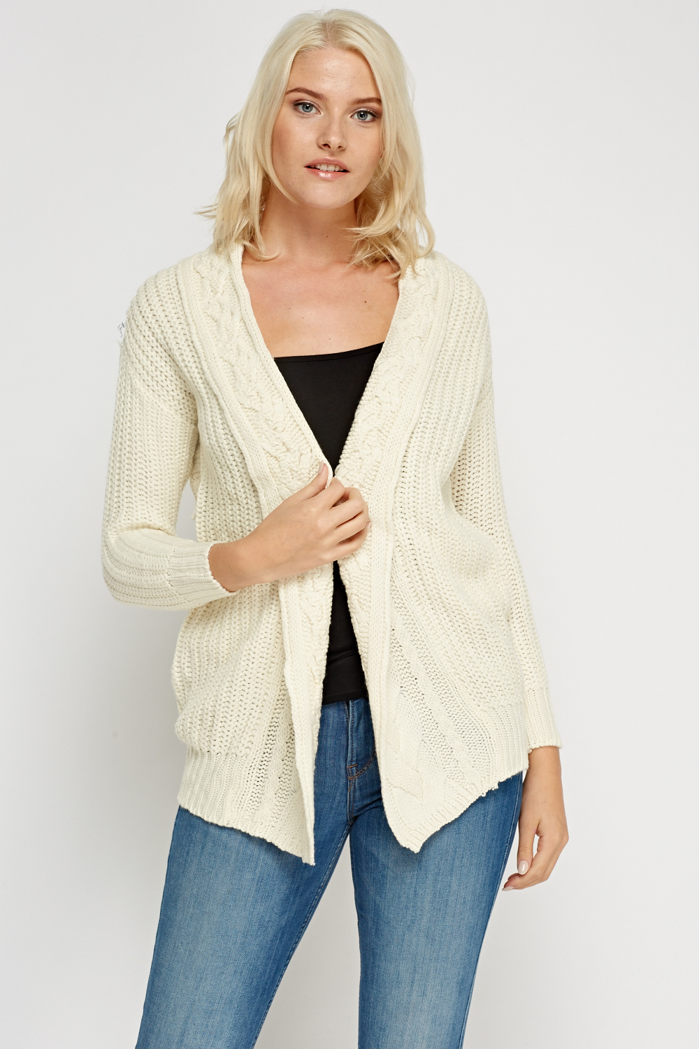 Cable Knit Trim Off White Cardigan - Just £5