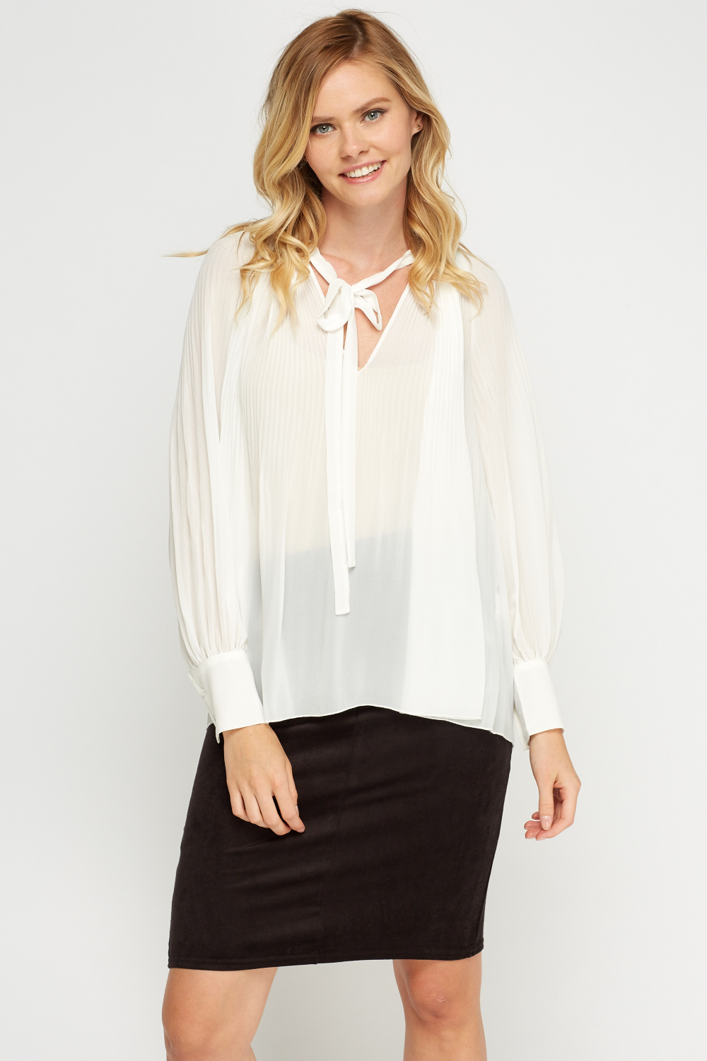 ca9b11cf Pleated Sheer Blouse - Off White - Just £5