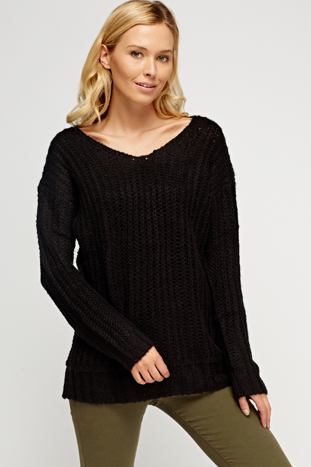 Loose Knit Open Front Cardigan - Just $3
