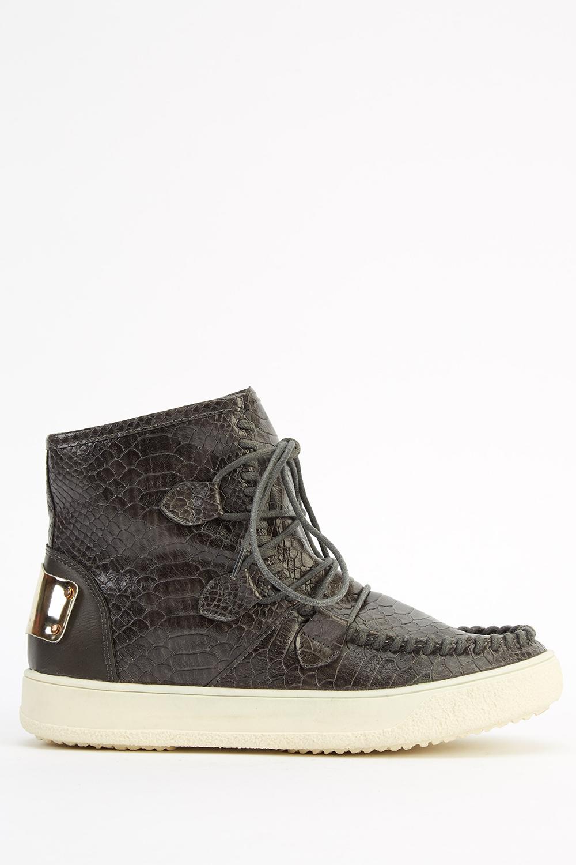 fceb2f703c Mock Croc Faux Leather Boots - Grey - Just £5