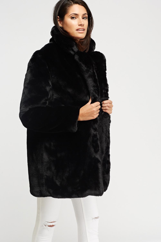 K Zell Black Teddy Bear Faux Fur Coat Limited Edition