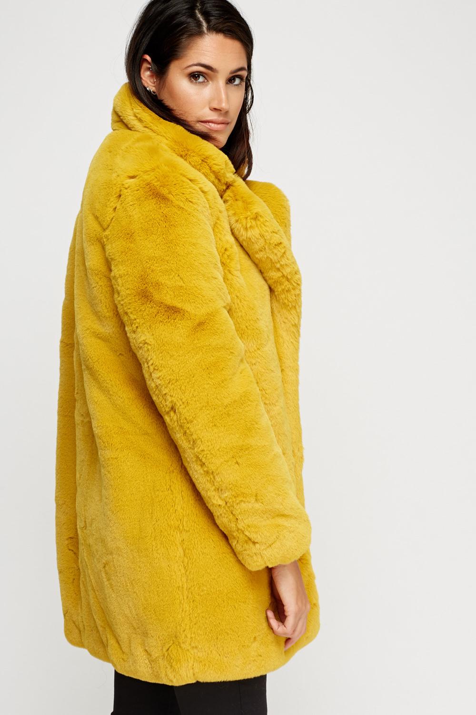 K Zell Mustard Teddy Bear Faux Fur Coat Limited Edition