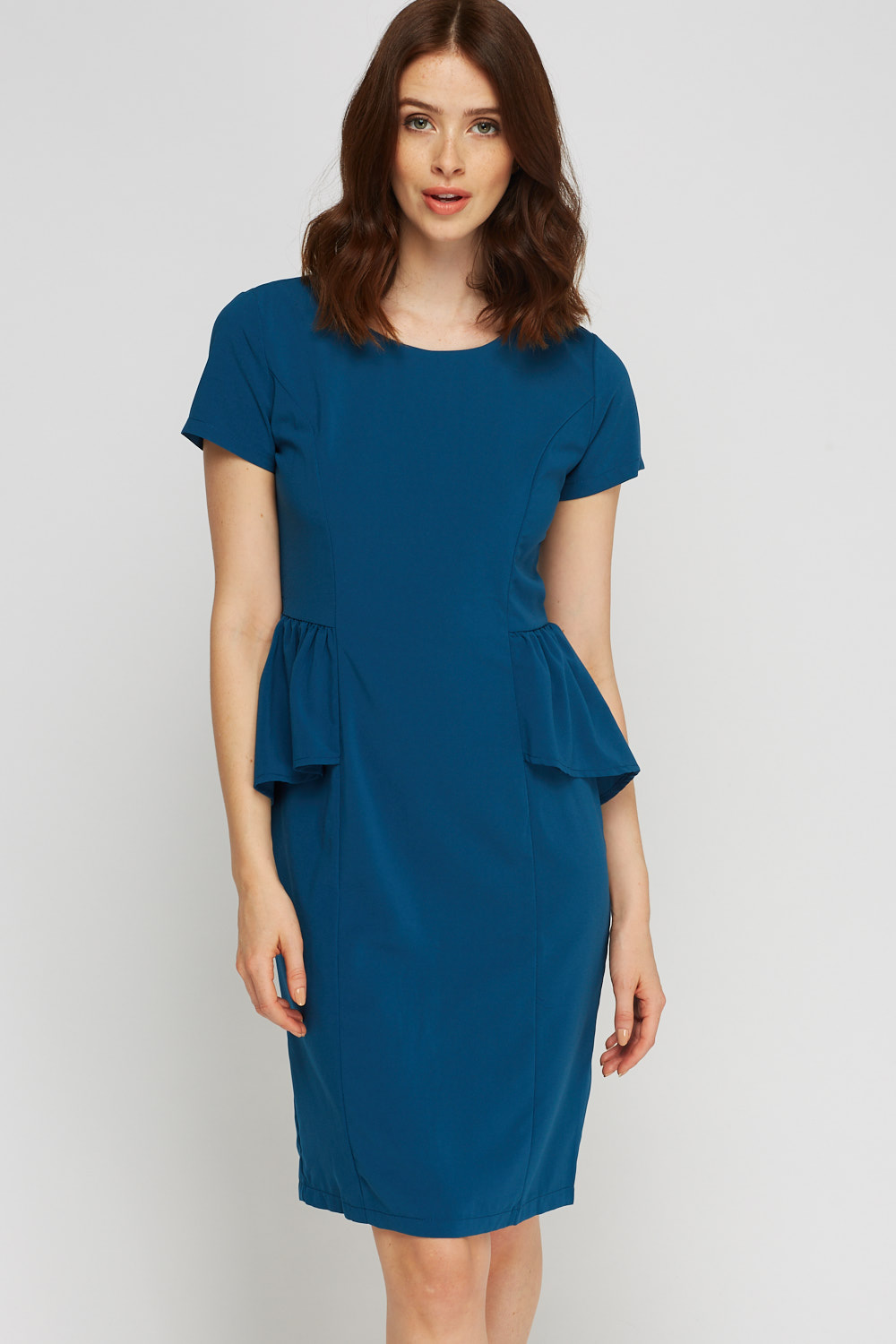 f79c8b19b46f Short Sleeve Peplum Midi Dress - Just £5