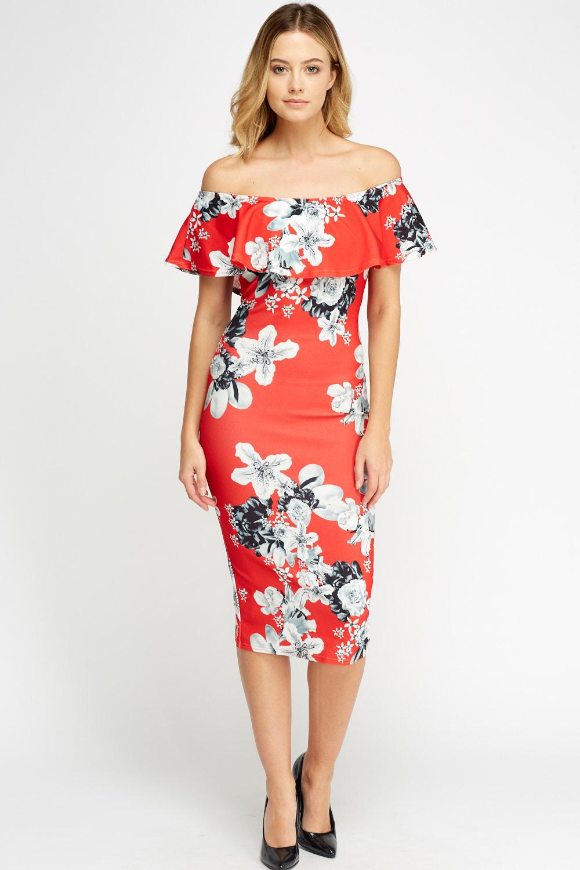 0920cc4c5dec Off Shoulder Floral Midi Dress - Just £5