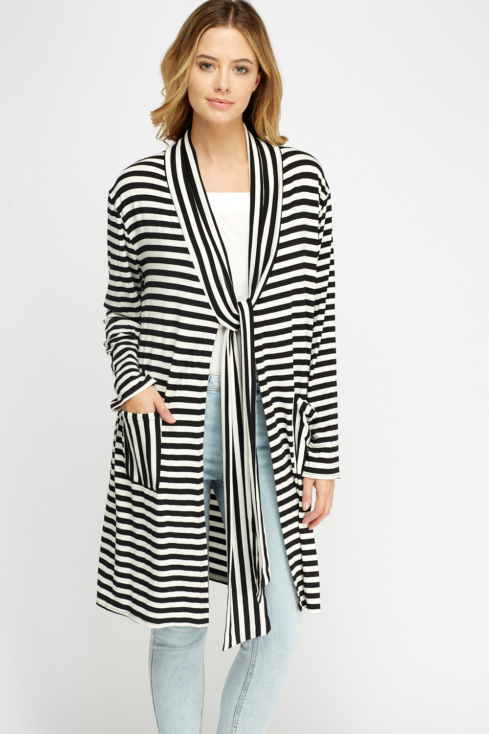 Striped Long Line Cardigan - White/Black - Just £5
