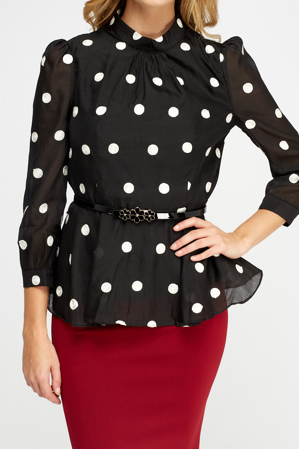 19c8fb2e7f5e09 Embroidered Polka Dot Belted Peplum Top - Just £5
