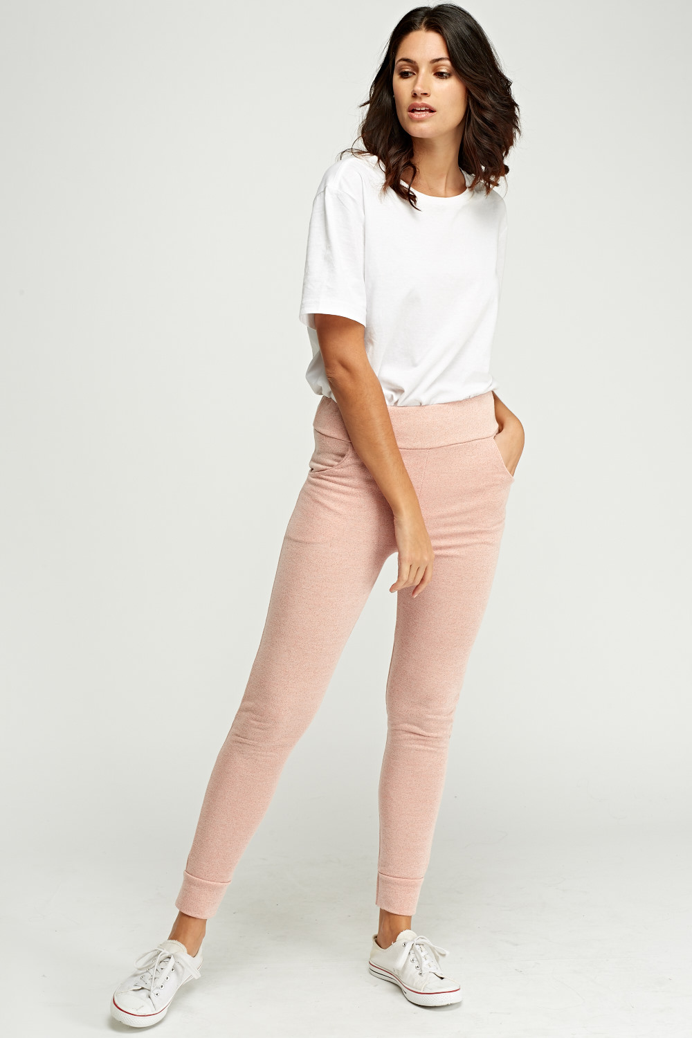 delicate colors new lifestyle details for Dusty Pink Fitted Jogger Pants - Just £5