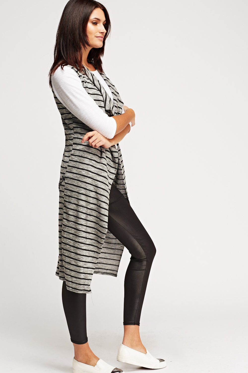 Thin Knitted Striped Longline Cardigan - Grey/Black - Just £5