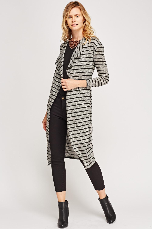 Striped Waterfall Cardigan - Grey/Black - Just £5